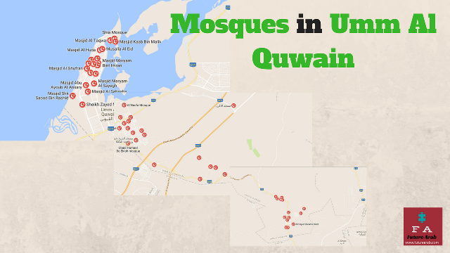 umm al quwain map location for airports tourism and important places